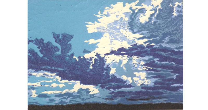 Blue Not Blue Woodcut