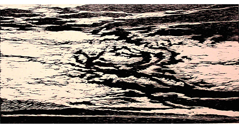 Clouds Rising Woodcut