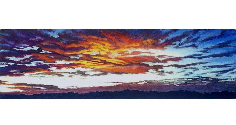 Fiery Night Oil Pastel