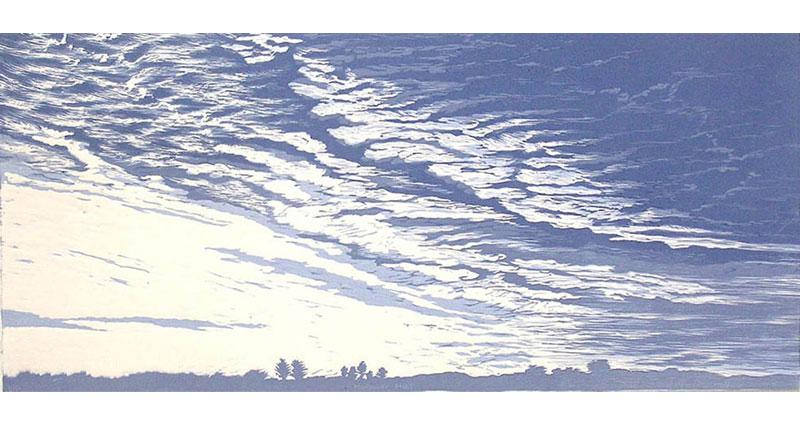 Morning Mist Woodcut