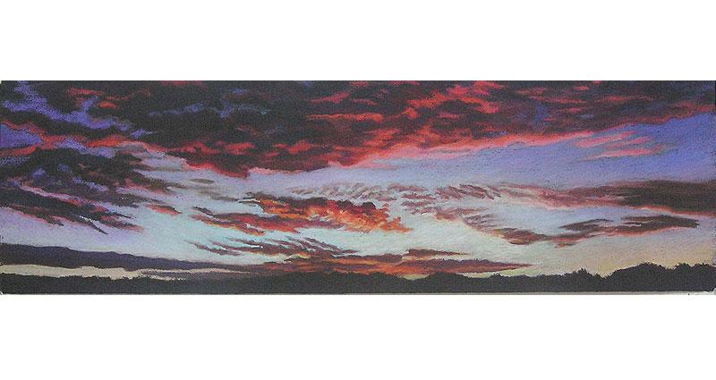 School of Clouds Oil Pastel