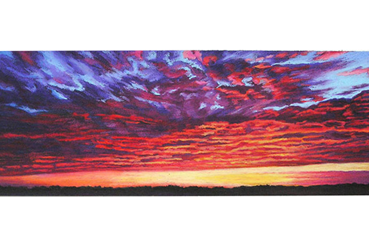 sky on fire oil pastel