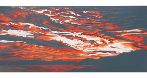 orange swirl woodcut print