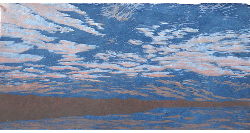 blue denim sky reduction woodcut print