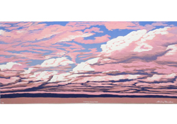 purple mountain reduction woodcut print thumbnail