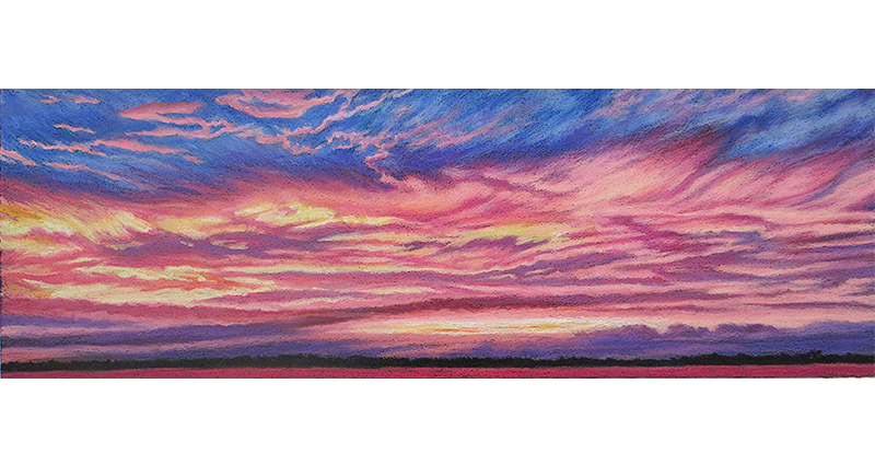 sky fire oil pastel